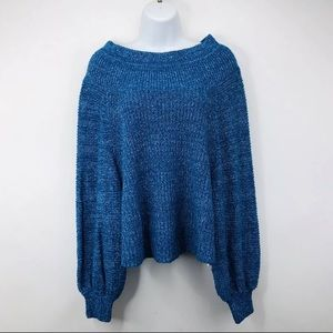 Free People Edessa Pullover Blue Knit Sweater New